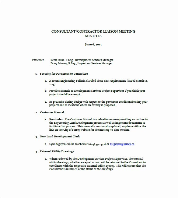 Construction Meeting Minutes Template Fresh Construction Meeting Minutes Templates 9 Free Sample