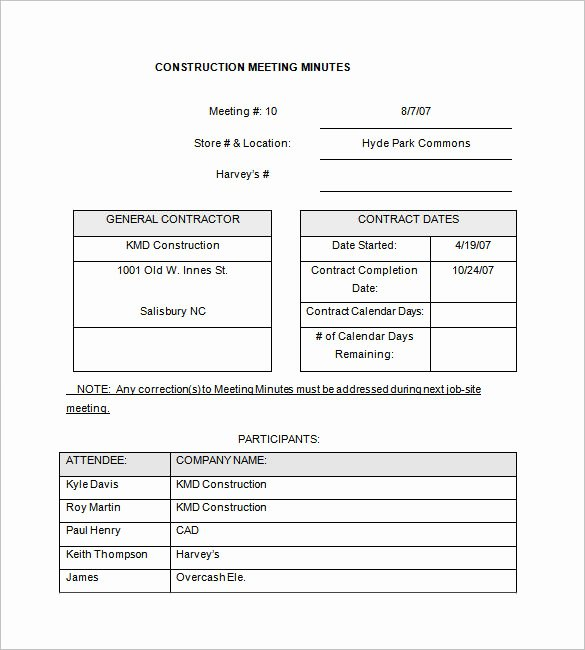 Construction Meeting Minutes Template Unique 13 Project Meeting Minutes Templates Doc Pdf Excel