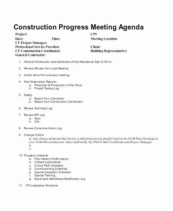 Construction Meeting Minutes Template Unique Construction Project Meeting Minutes Template Sample