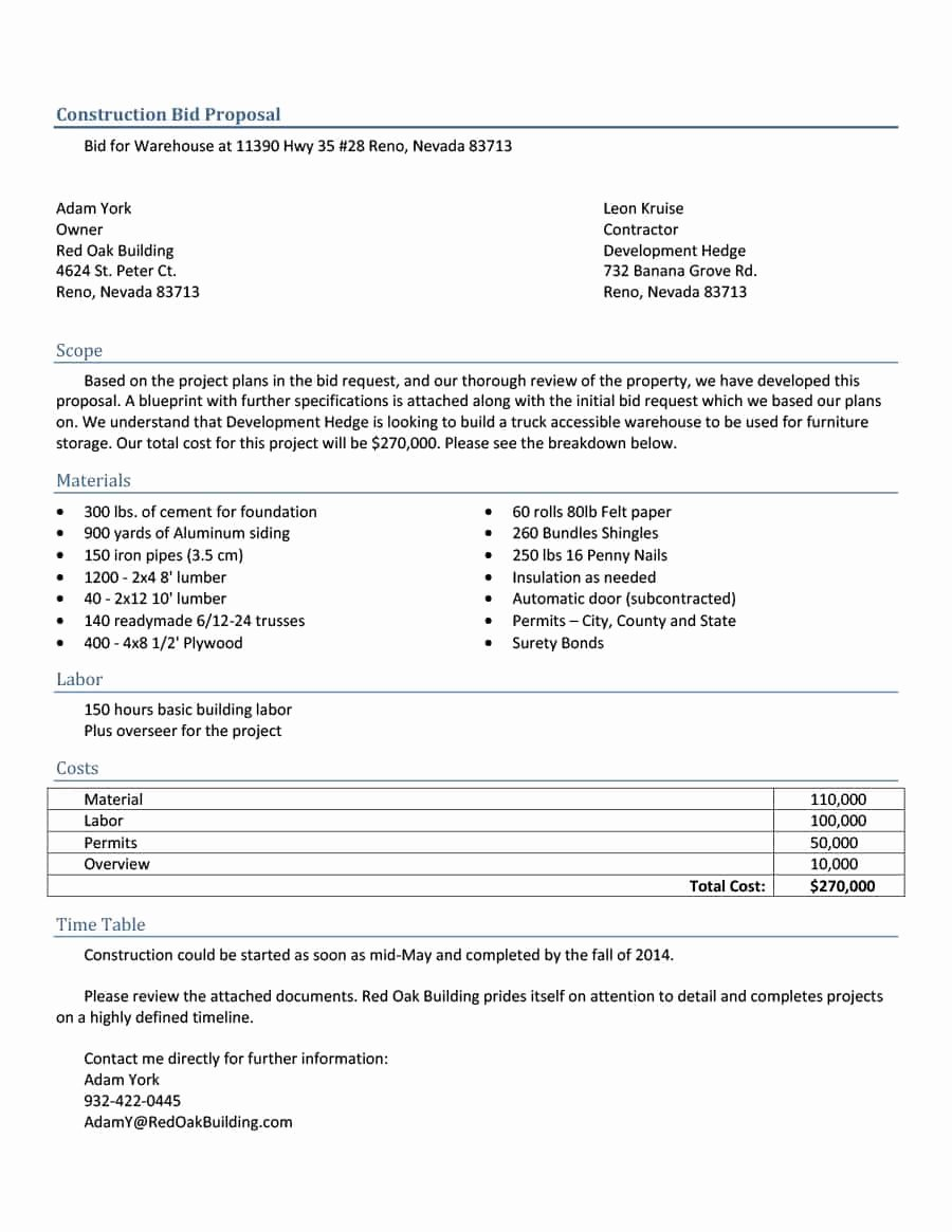 Construction Proposal Template Word New 31 Construction Proposal Template & Construction Bid forms