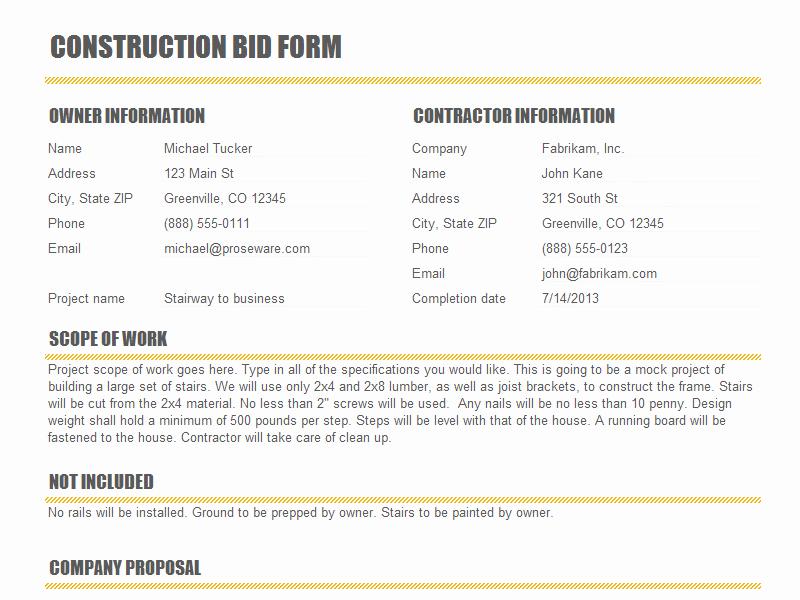 Construction Proposal Template Word Unique Construction Proposal Templates