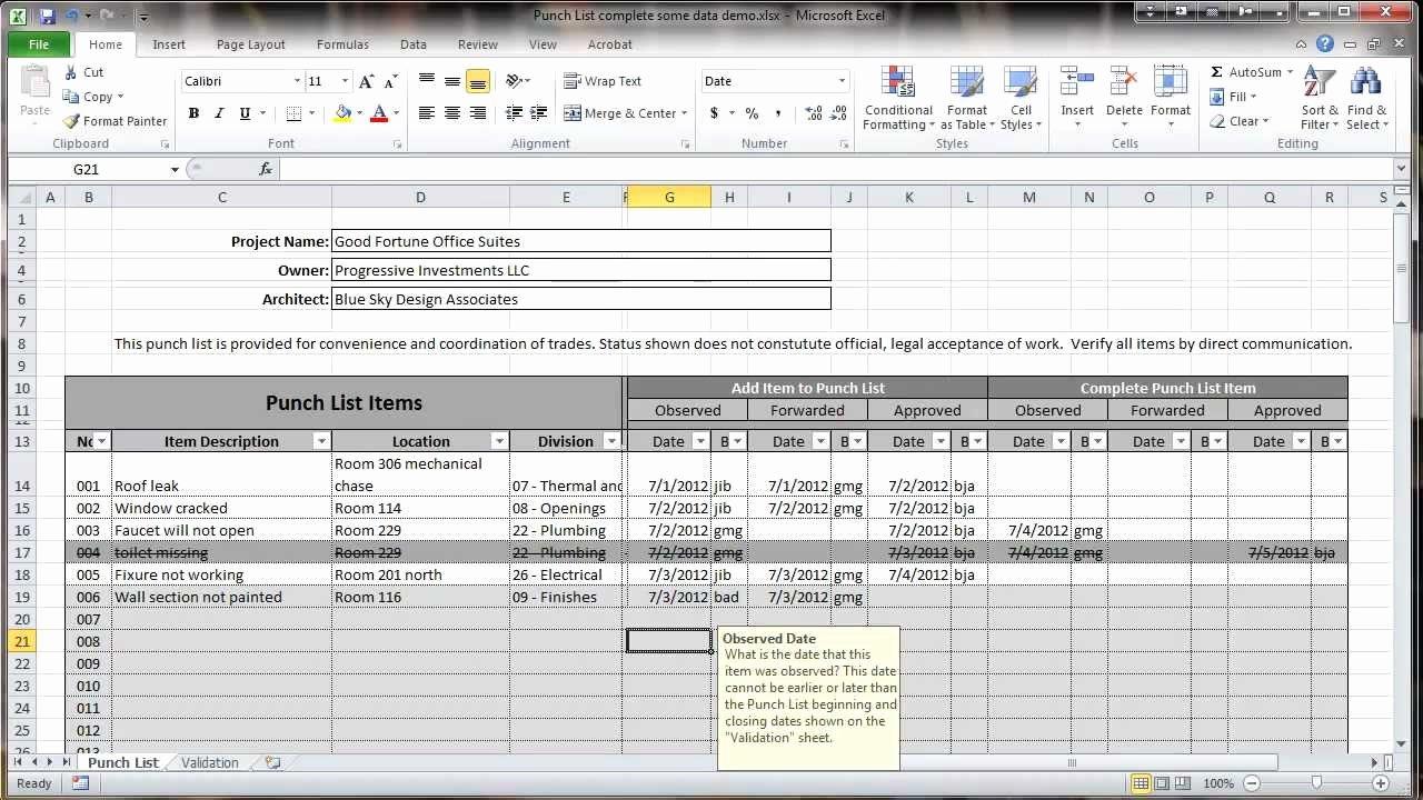 Construction Punch List Template Elegant Excel 2010 Construction Punch List Overview
