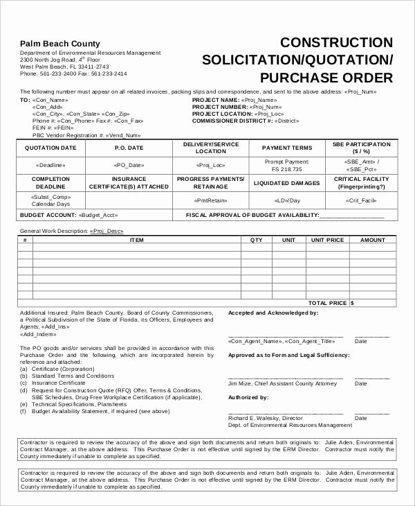Construction Purchase order Template Beautiful 15 Purchase order Templates