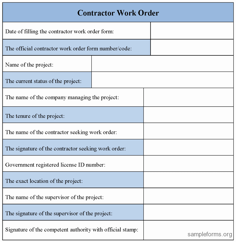 contractor work order form