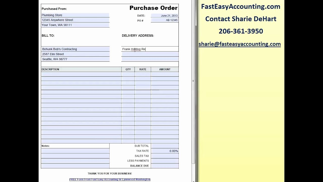 Construction Purchase order Template Fresh Free Contractor Purchase order Template by Fast Easy