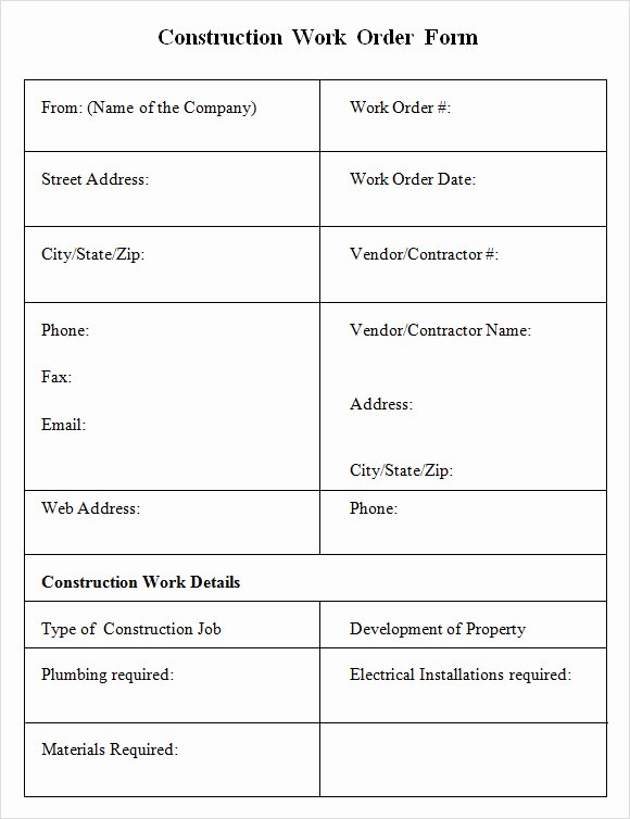 Construction Purchase order Template Inspirational Best S Of Contractor Work order form Template