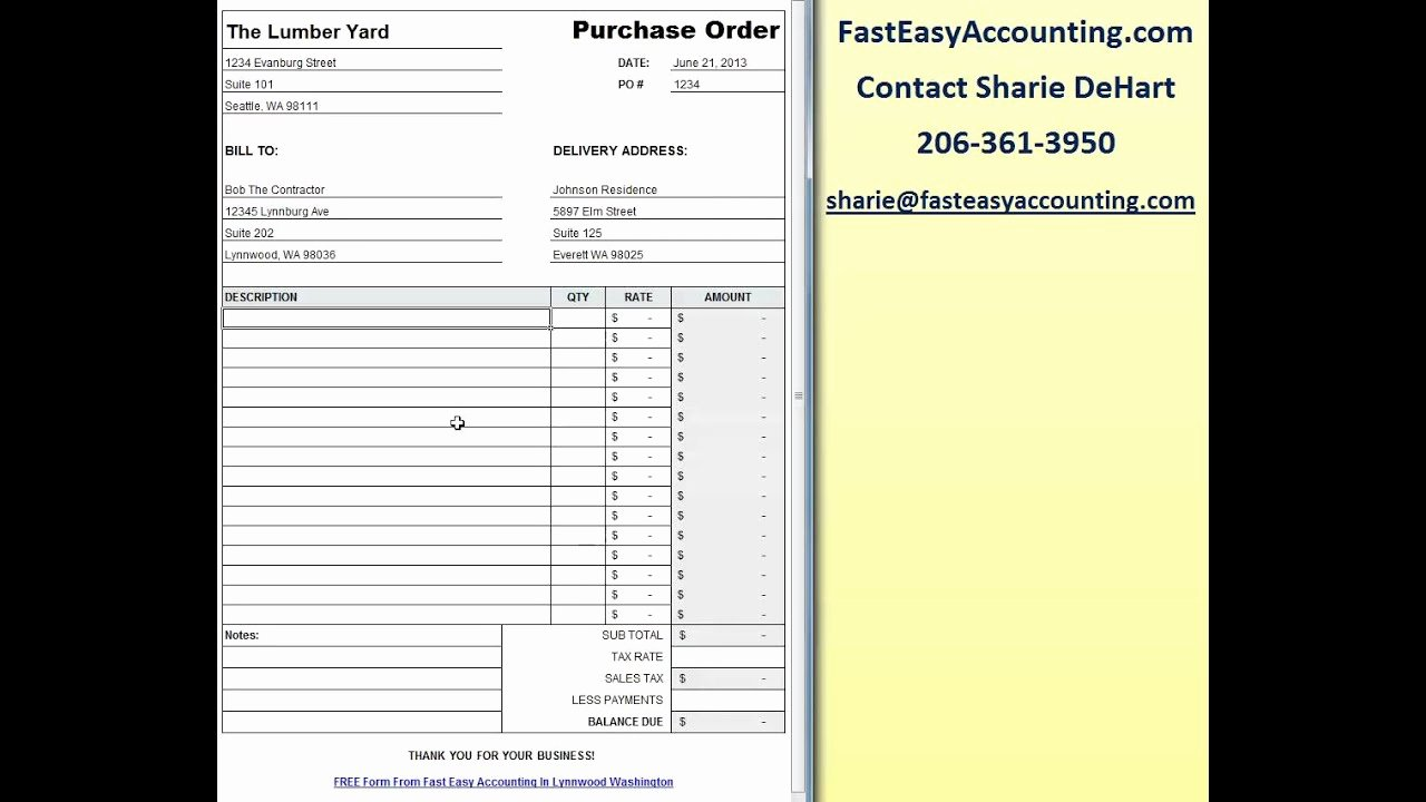 Construction Purchase order Template Lovely Free Contractor Purchase order Template Excel Download
