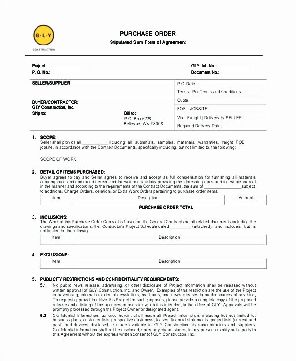 Construction Purchase order Template Unique Full Size Medium Template Download Sample Work