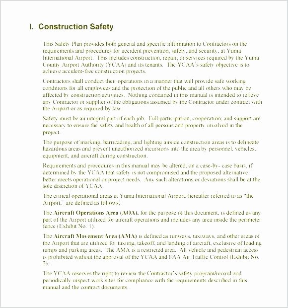 Construction Safety Manual Template Awesome Construction Safety Manual Template