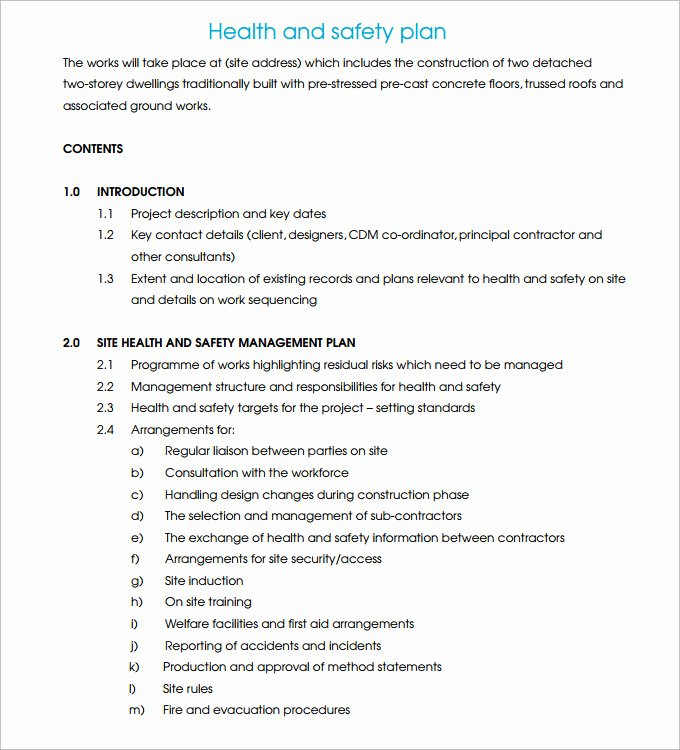 Construction Safety Plan Template Fresh Construction Safety Plan Template 17 Free Word Pdf