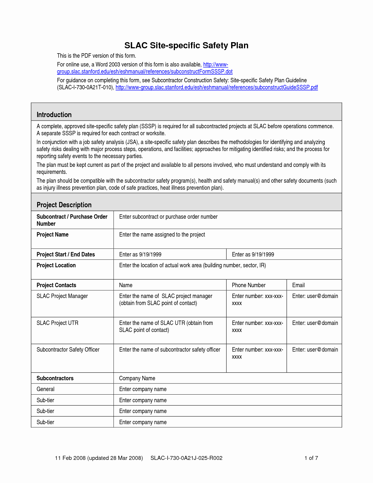 Construction Safety Plan Template Fresh Safety Plan Template