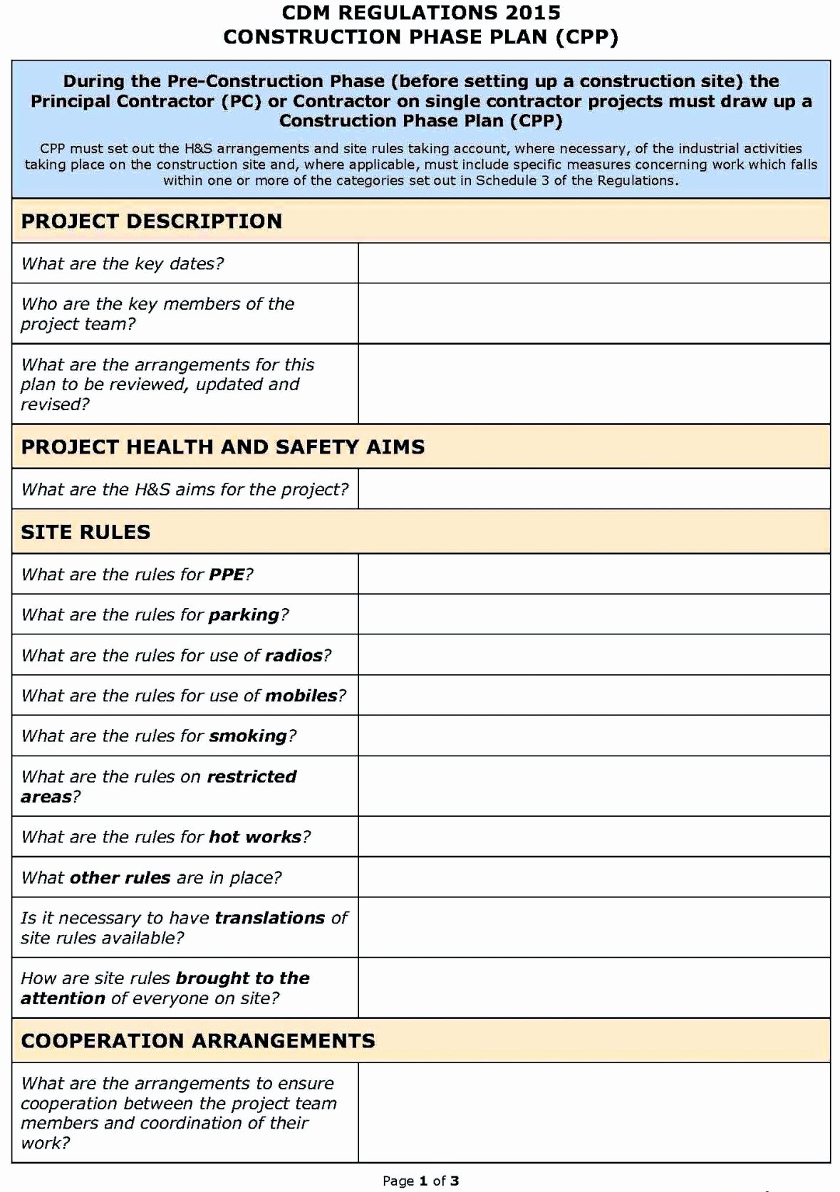 Construction Safety Plan Template Inspirational Hse Risk assessment Template Construction Template