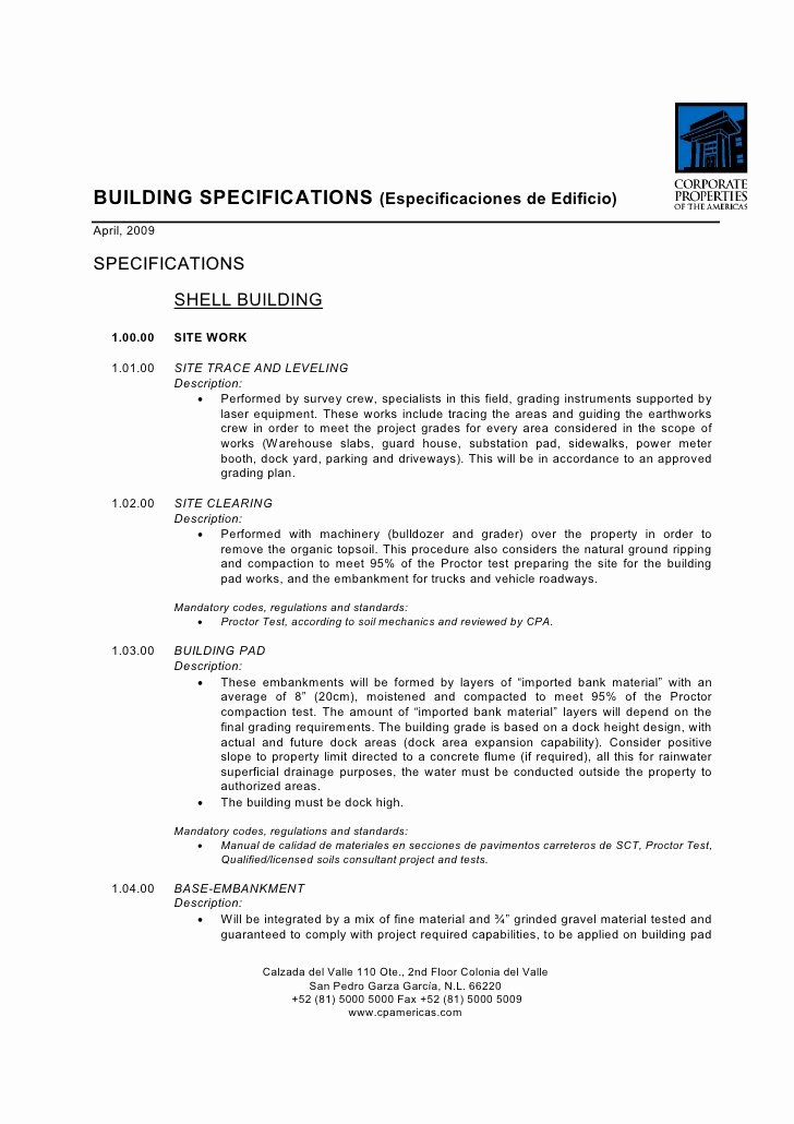 Construction Spec Sheet Template Elegant Bts Construction Building Specs Template Tipo