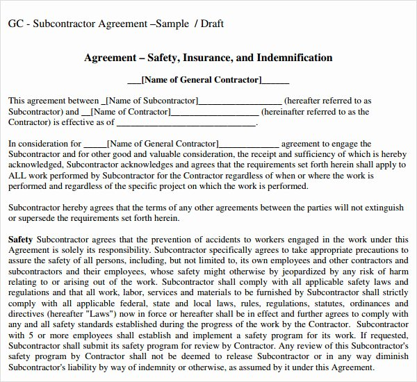 Construction Subcontractor Agreement Template Awesome Subcontractor Agreement 13 Free Pdf Doc Download
