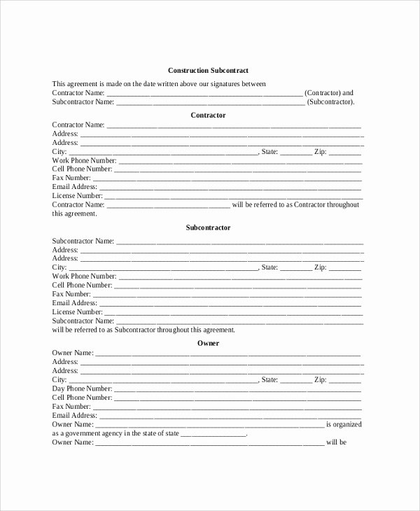 Construction Subcontractor Agreement Template Fresh 8 Sample Construction Contractor Agreements
