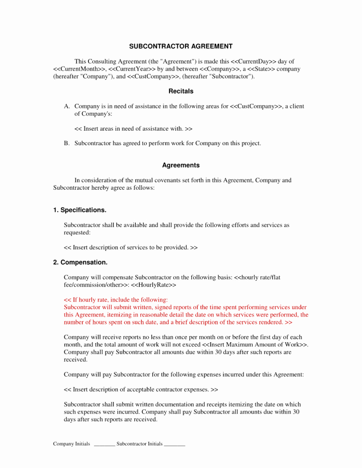 Construction Subcontractor Agreement Template Fresh Agreement Subcontractor Agreement