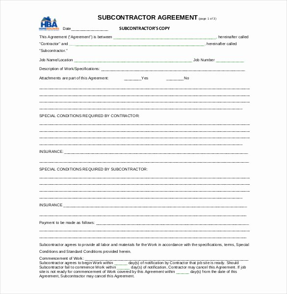 Construction Subcontractor Agreement Template Inspirational 13 Subcontractor Agreement Templates – Word Pdf Pages