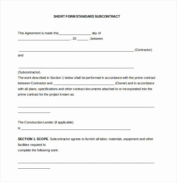 Construction Subcontractor Agreement Template Lovely 13 Subcontractor Agreement Templates – Word Pdf Pages