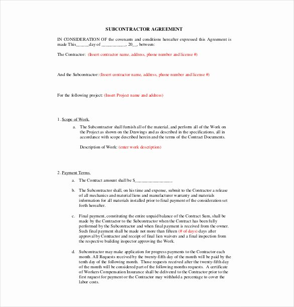 Construction Subcontractor Agreement Template New 17 Subcontractor Agreement Templates Word Pdf Pages