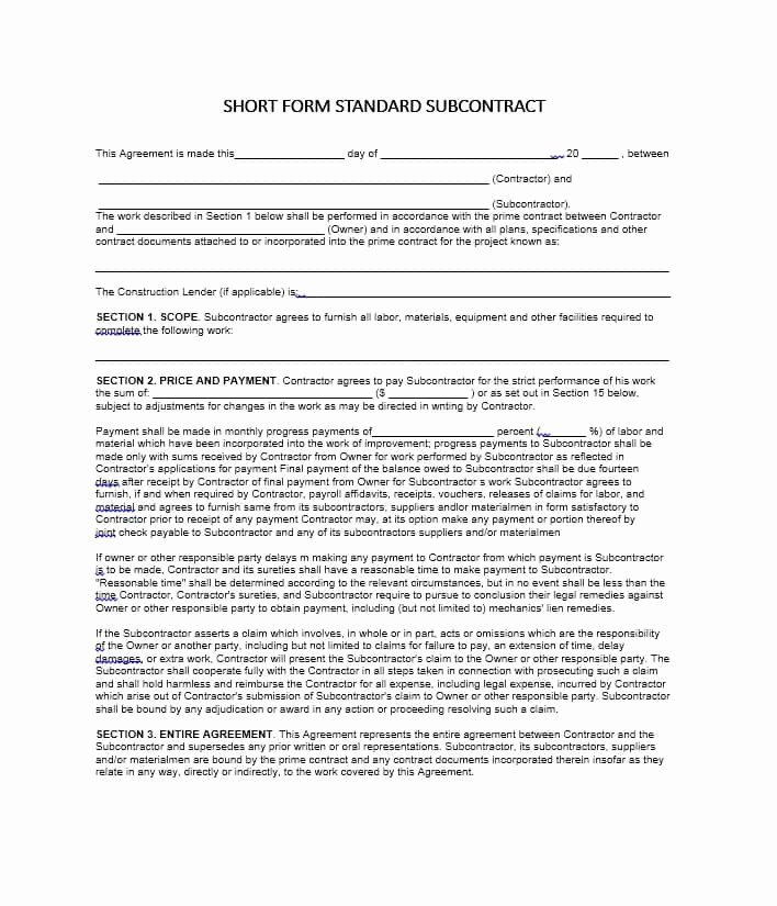 Construction Subcontractor Agreement Template New Need A Subcontractor Agreement 39 Free Templates Here