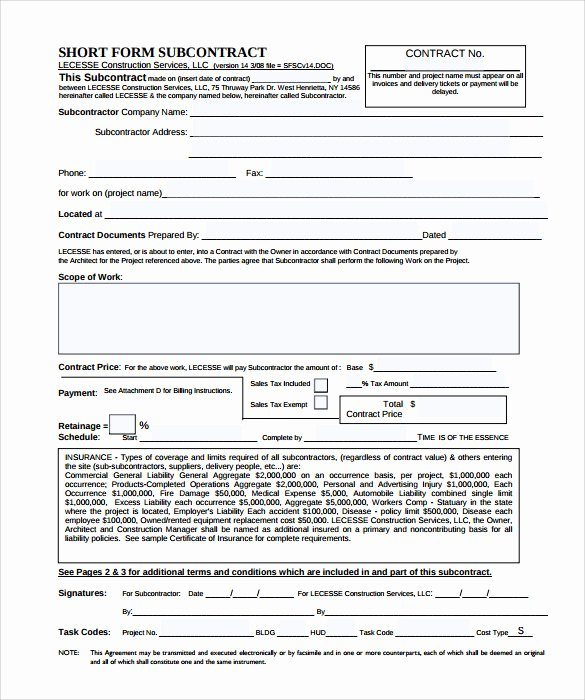 Construction Subcontractor Agreement Template New Subcontractor Contract Template 10 Download Documents