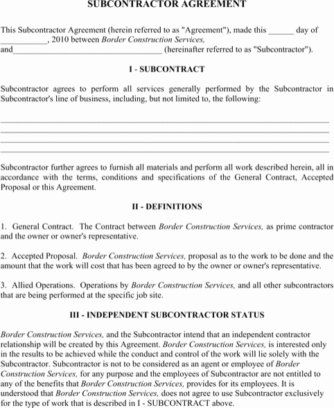 Construction Subcontractor Agreement Template Unique Subcontractor Agreement Templates&forms