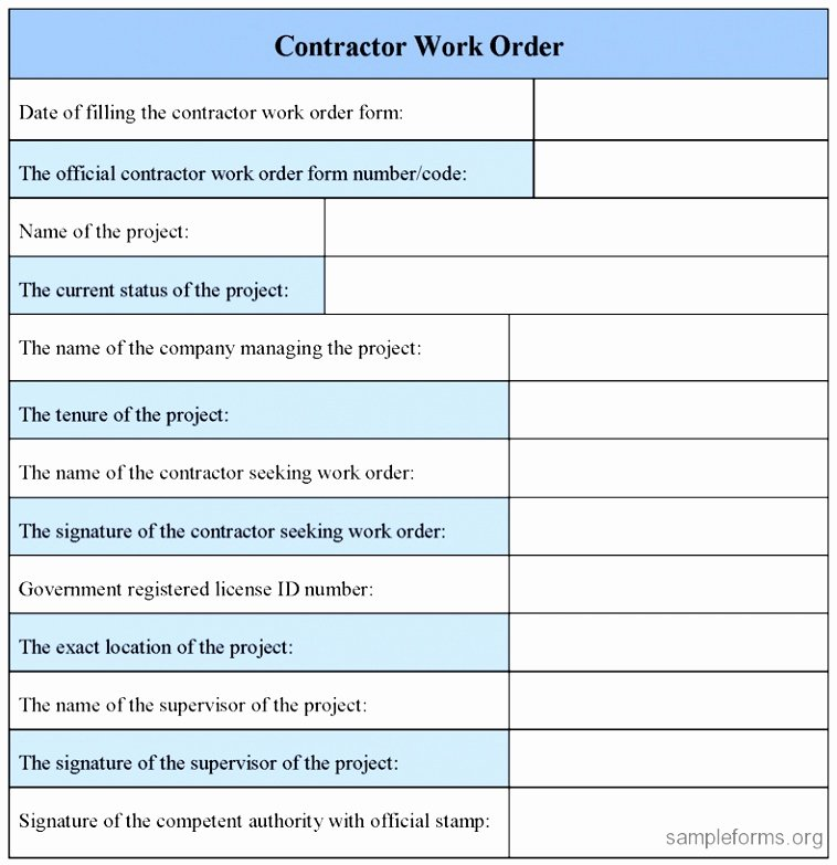 Construction Work order Template Elegant 10 Extra Work order Template Eayoe