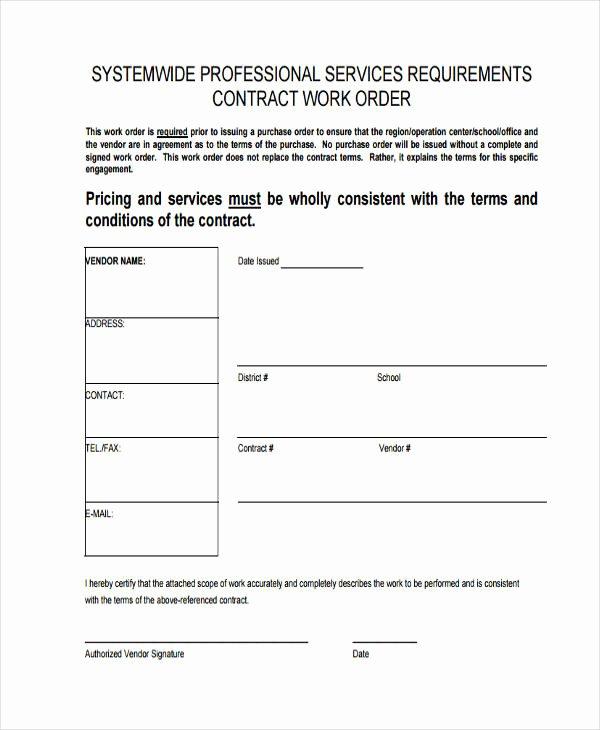 Construction Work order Template Elegant 17 Work order formats