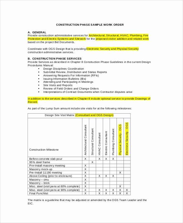 Construction Work order Template Elegant 38 Sample Sheets