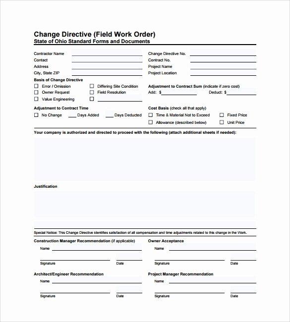 Construction Work order Template Elegant 6 Sample Construction Work order forms – Pdf
