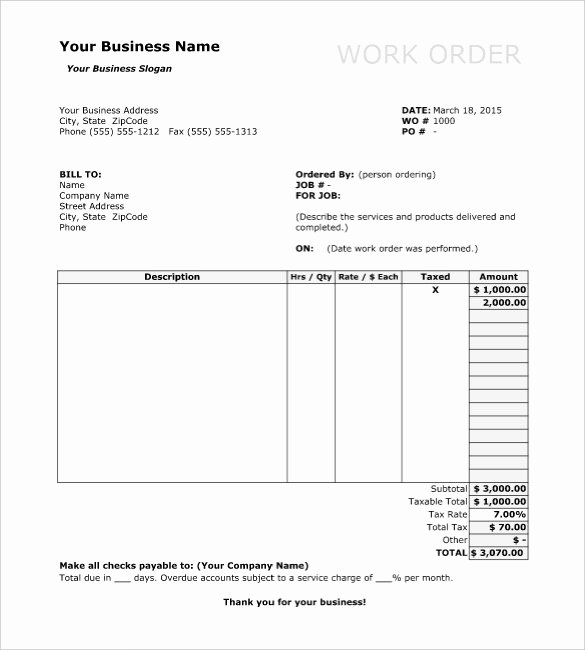 Construction Work order Template Elegant Work order Template 13 Free Word Excel Pdf Document