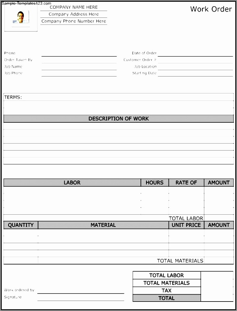 Construction Work order Template Fresh 12 Contractor Work order Template