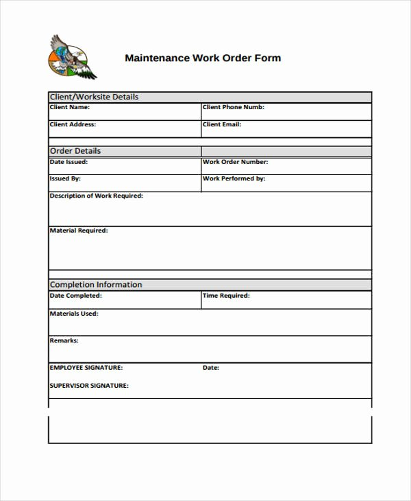 Construction Work order Template Luxury Contractor Work order form Oursearchworld