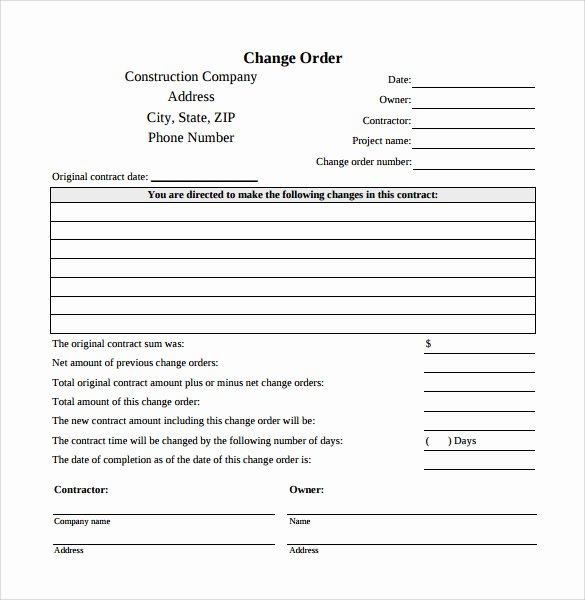 Construction Work order Template Unique 8 Change order Templates Docs Pages
