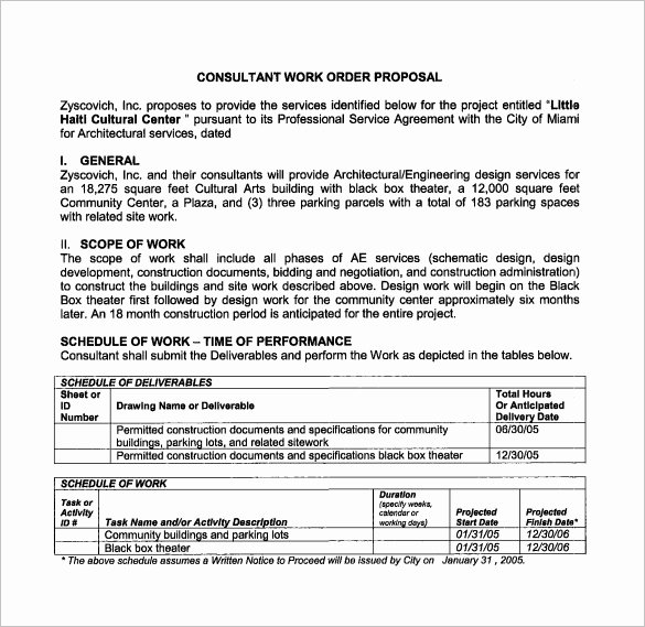 Construction Work order Template Unique Work Proposal Template 15 Free Sample Example format