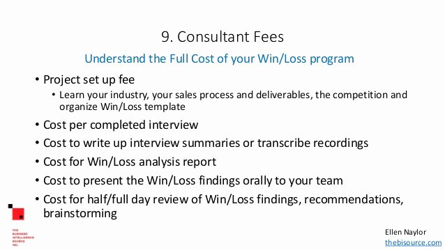 Consultant Fee Schedule Template Awesome Outsourcing Win Loss Analysis Finding the Right Consultant