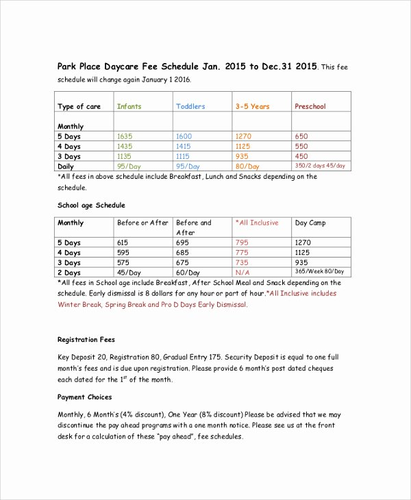 Consultant Fee Schedule Template Fresh 23 Of Template Fee Schedule