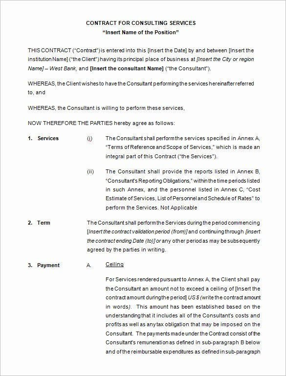 Consulting Agreement Template Short Elegant 10 Consulting Contract Templates Pdf Doc