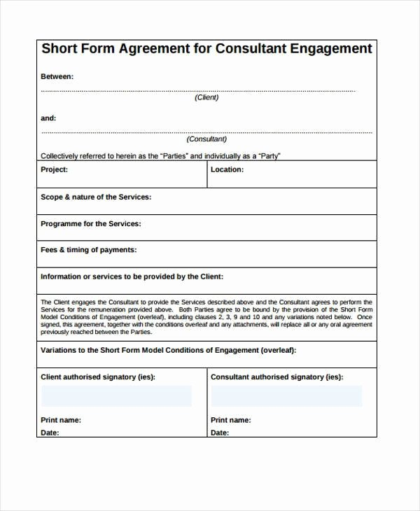 Consulting Agreement Template Short Lovely Consulting Agreement form Samples 7 Free Sample