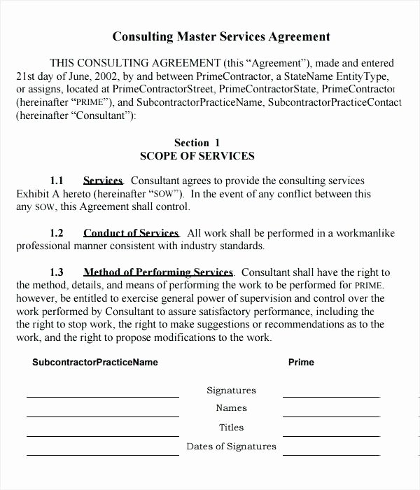 Consulting Agreement Template Short Lovely Contract for Consulting Services Template
