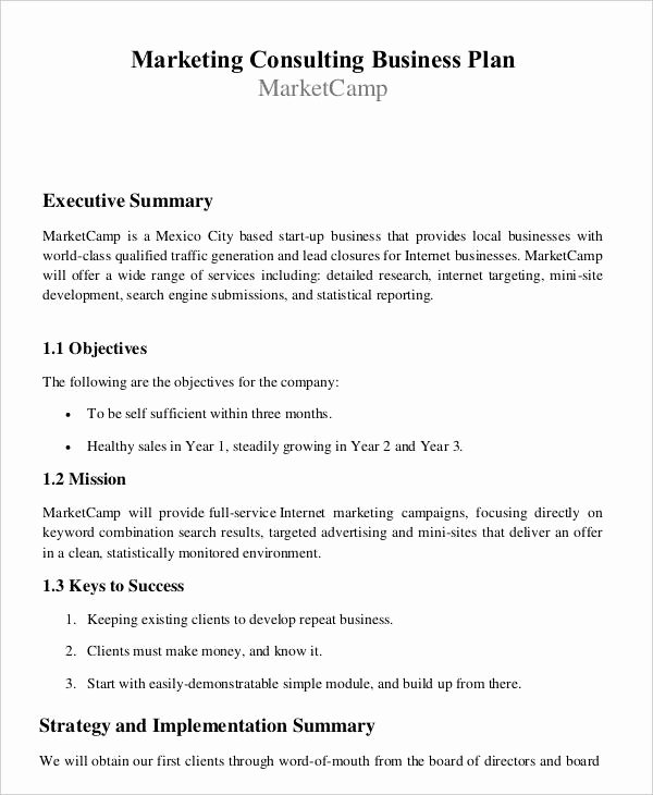 Consulting Business Plan Template Luxury 29 Free Business Plan Templates