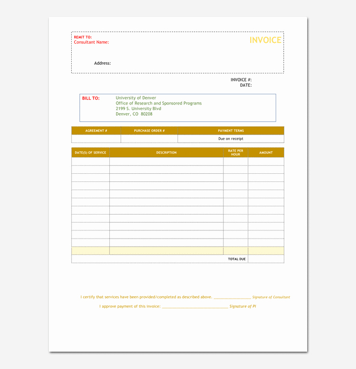 Consulting Invoice Template Word Awesome Consultant Invoice Template for Word Excel & Pdf