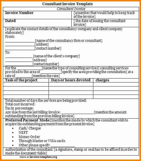 Consulting Invoice Template Word Lovely 7 Consultation Charges Bill format