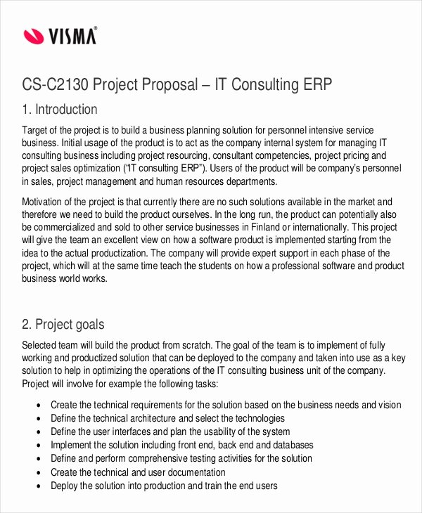 Consulting Proposal Template Doc New 36 Project Proposal In Pdf