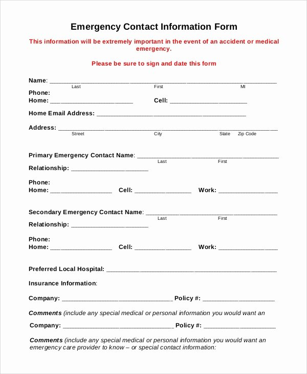 Contact Information form Template Awesome 8 Sample Emergency Contact forms – Pdf Doc