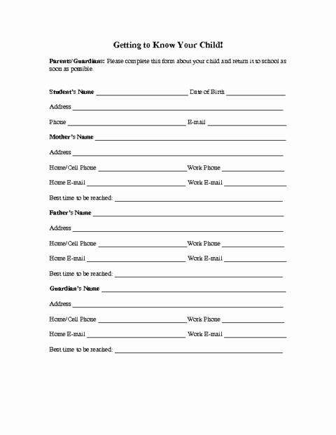 Contact Information form Template Awesome Family Information form Template