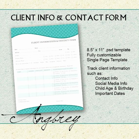 Contact Information form Template Beautiful Client Info & Contact form for Graphers Client