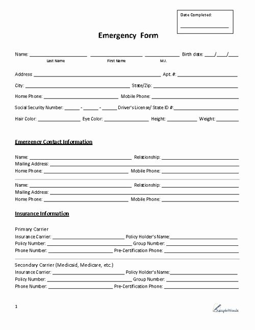 Contact Information form Template Beautiful Emergency form Contact Daycare Pinterest