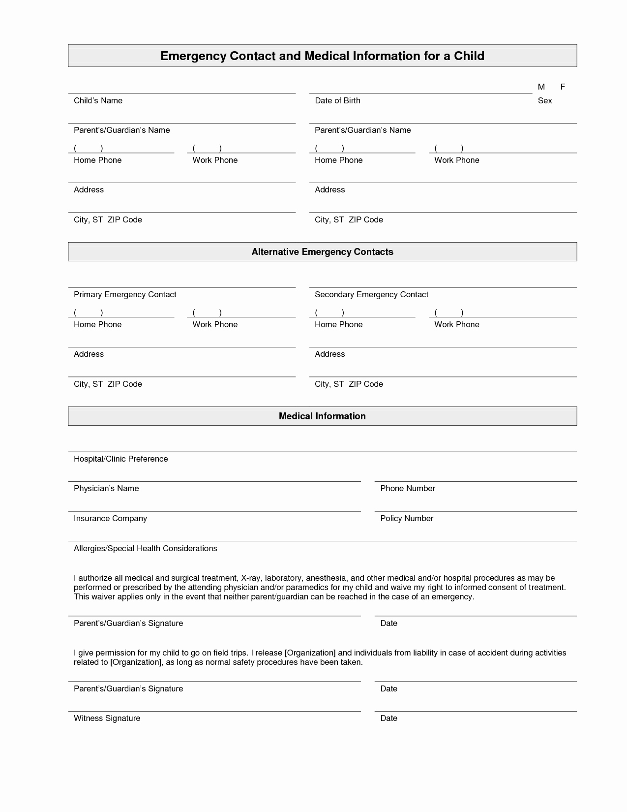 Contact Information form Template Elegant Printable Emergency Contact form Template