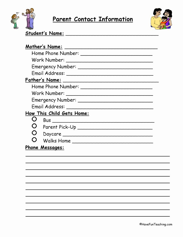 Contact Information form Template Fresh Student Information Sheets